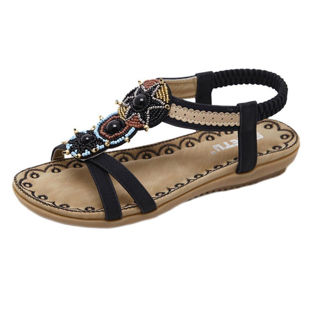 Challeng Sandales Plates Chaussures Escarpins Tamaris,Chaussures pour Femmes Sandales Ethniques Bohème Grandes Chaussures Perlées, noir/marron/35/36/37/38/39/40/41/42