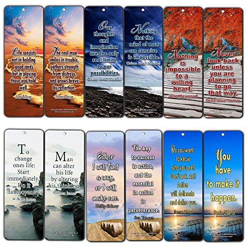 Creanoso Inspirational and Motivational Sayings Book Reading Bookmarks (30-Pack) - Essential Inspiring Reading Collection Pack for Men, Women, Adults, Book Lovers, Bookworms