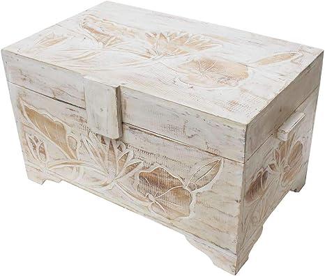 Truhe Holzkiste Holztruhe Kiste Box Holzbox Blumen Schnitzereien Türkis 12cm