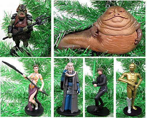 Star Wars Return of The Jedi 6 Piece Ornament Set Featuring Princess Leia, Luke Skywalker, C-3PO, Jabba The Hut and More (Star Wars Return Of The Jedi Leia)