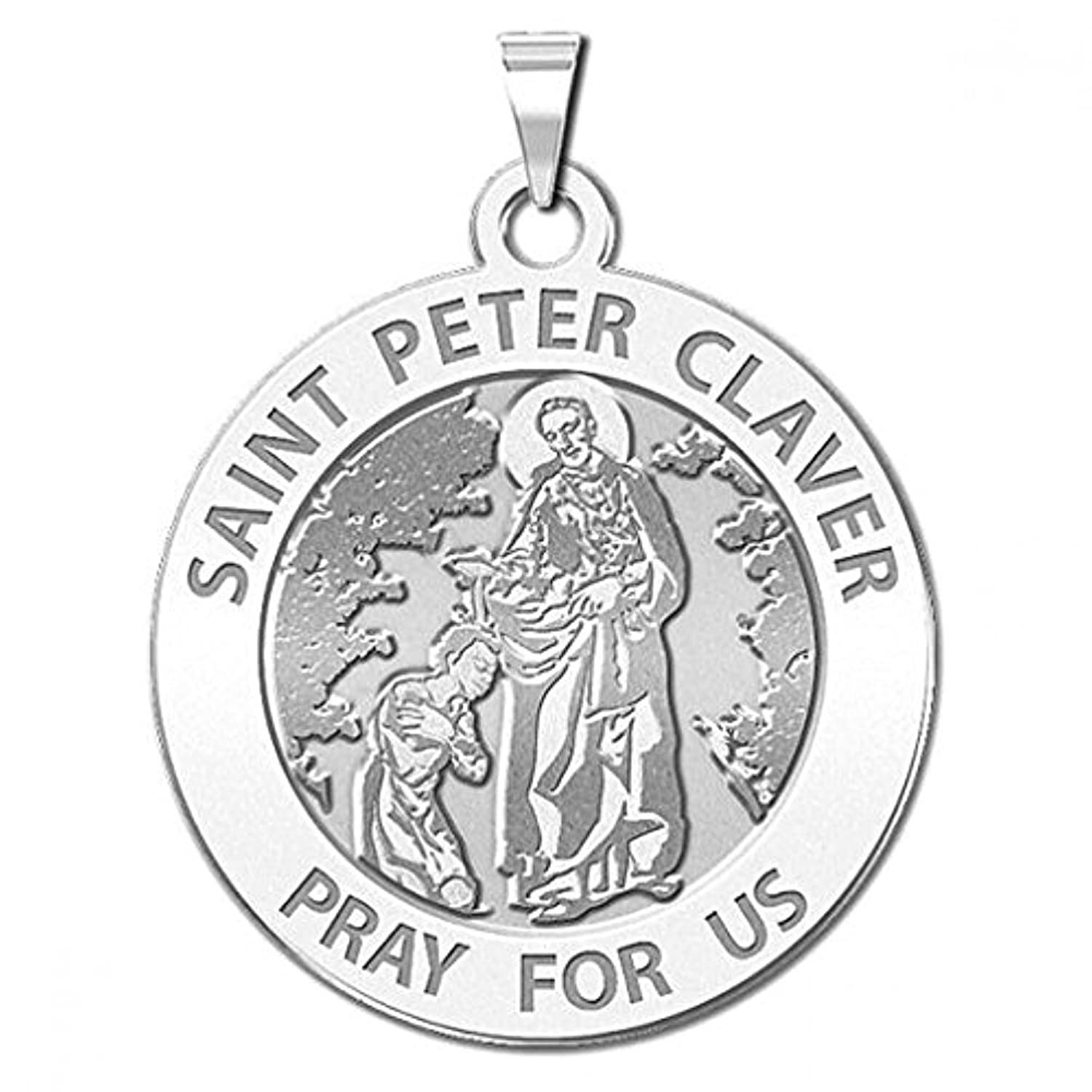 Saint Peter Claver Religious Medal - 3/4 Inch Size of a Nickel in Sterling Silver