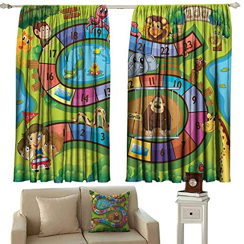Exquisite Curtain Kids Activity A Day in a Zoo Themed Cartoon Style Children and Exotic Animals Gorilla Lion Blackout Draperies for Bedroom Living Room W63 xL63 Multicolor ()