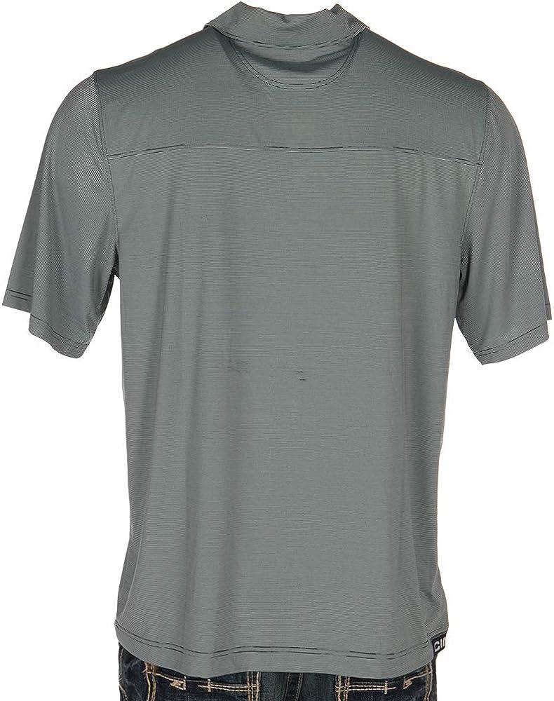 Cinch Apparel Mens Gray Striped Arenaflex Polo