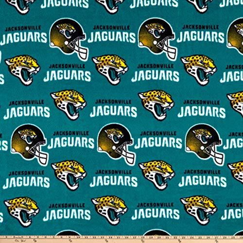 Fabric Traditions NFL Fleece Jacksonville Jaguars Fabric, Gold/Black/Aqua, Fabric By The Yard