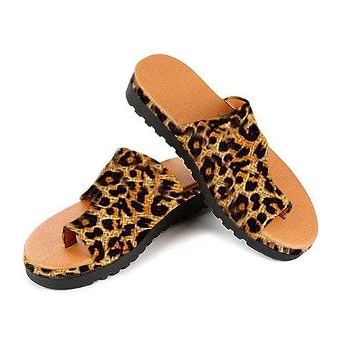 ORANDESIGNE Corrector de juanetes, Sandalias con Plataforma para Mujeres Cuñas cómodas Zapatillas Romanas con Punta Abierta Zapatillas de Playa Summer Beach ...