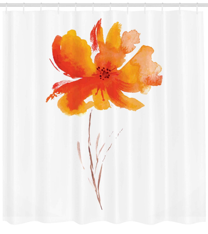 Una Amapola en Fondo Liso Claro Inspiraci/ón Naturaleza Rom/ántica Tela Estampada Resistente al Agua Set de 12 Ganchos ABAKUHAUS Acuarela Floral Cortina de Ba/ño 175 x 200 cm Naranja