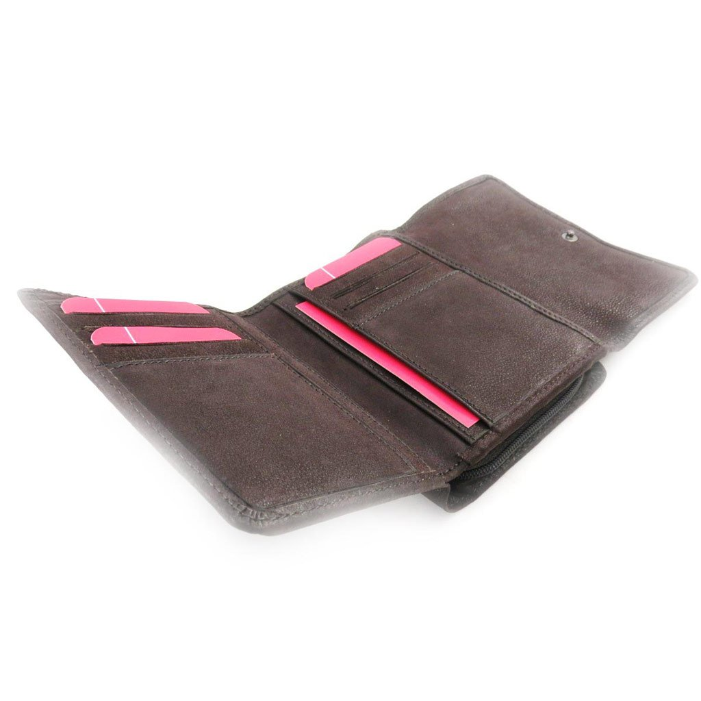 Wallet card holder leather Fuchsia brown vintage.
