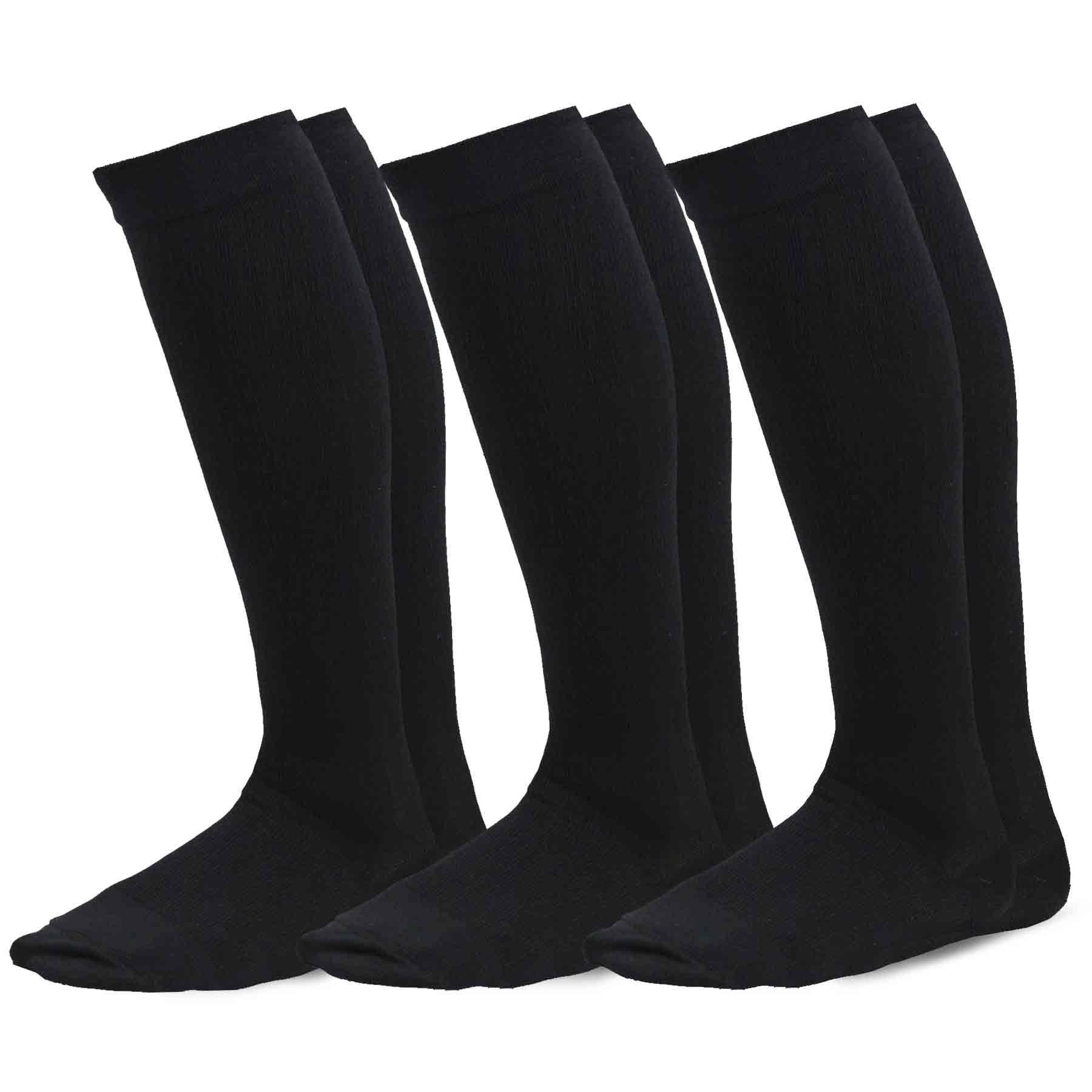 TeeHee Microfiber Compression Knee High Socks with Rib 3-Pack (Small (8-9), Black)