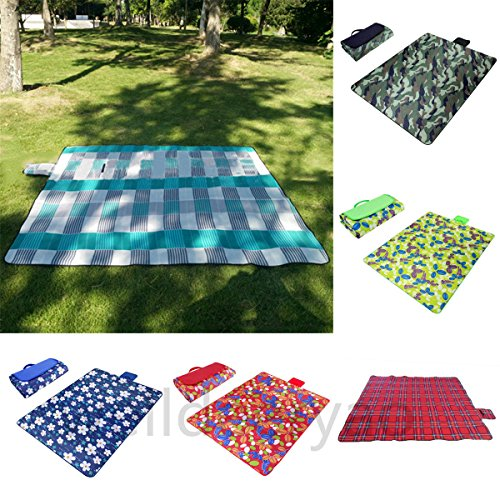 Black & Grass Paided Portable Picnic Blanket Waterproof Beach Mat Outdoor Camping Moistureproof Gift 200 200cm / 78.74 78.74in by Generic (Image #2)