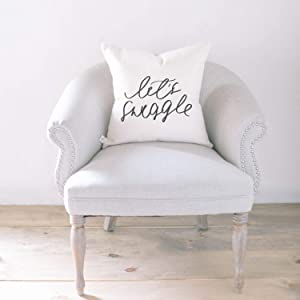 Throw Pillow - Let's Snuggle, Handmade in the USA, calligraphy, home decor, wedding gift, engagement present, housewarming gift, cushion cover, throw pillow