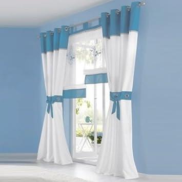 2er Set Transparente Voile Vorhang U0026quot;Jajau0026quot; Gardinen Wohnzimmer  Vorhänge, Ösen, Blau
