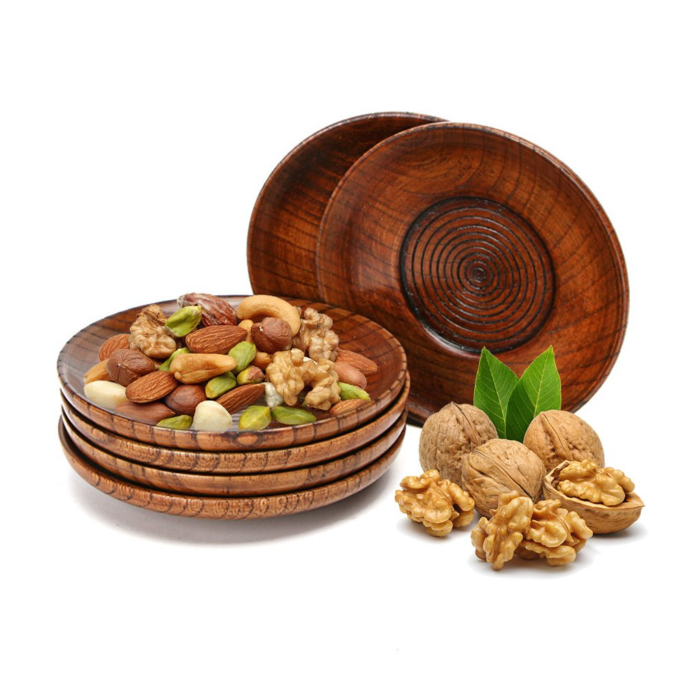 1 PC Solid Wood Round Disc Coaster Spiral Cup Holder,Serving Dishes,Wooden Snacks Saucer Tray Dish Somedays