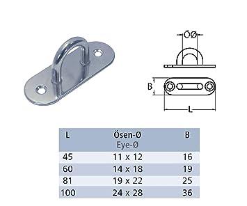 Augplatte mit Haken A4-AISI 316