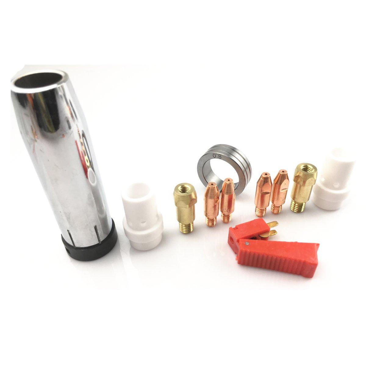 10pcs Soldadura MIG Consumibles para pistola 36 KD linterna difusor de boquilla de gas M6 titulares puntas 0,8/1.0 mm doble tamaño rollos de 30 mm OD: ...