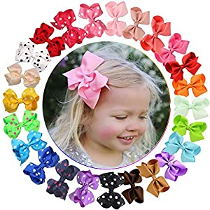 24 Pcs Baby Girls Bows Clips Grosgrain Ribbon Hair Bows Alligator Clips for Toddlers Kids