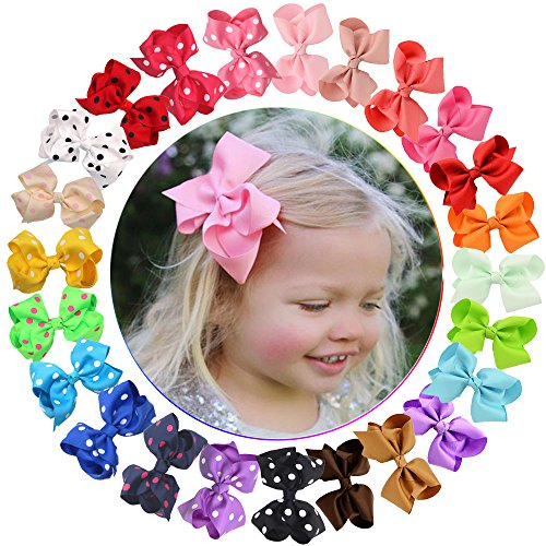 Price comparison product image 24 Pcs Baby Girls Bows Clips Grosgrain Ribbon Hair Bows Alligator Clips for Toddlers Kids