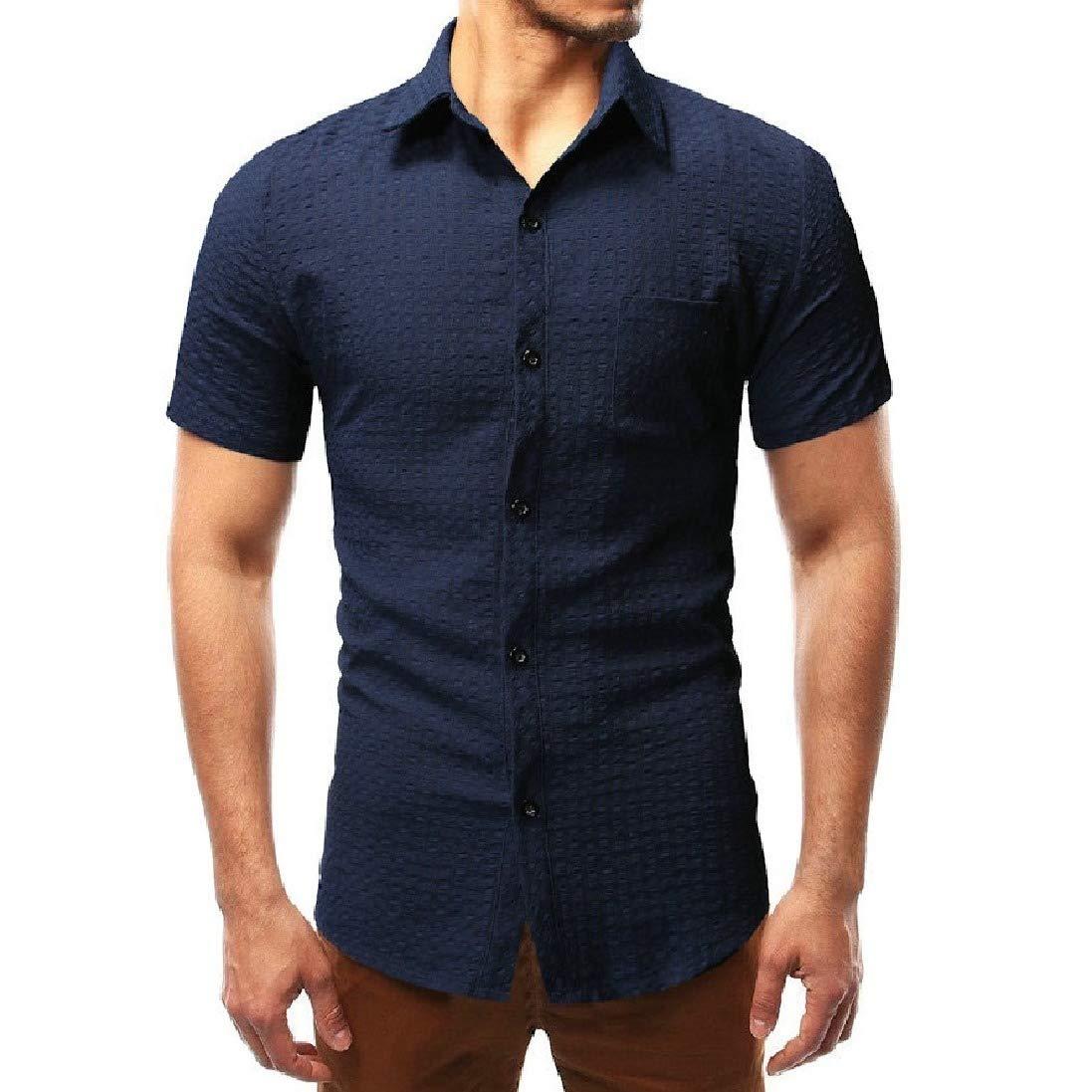 Winwinus Men Summer Casual Half Sleeve Lapel Pleated Button Dress Shirt