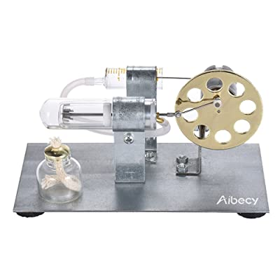 Aibecy Mini Hot Air Stirling Engine Motor Model Stream Power Physics Experiment Educational Toy: Office Products