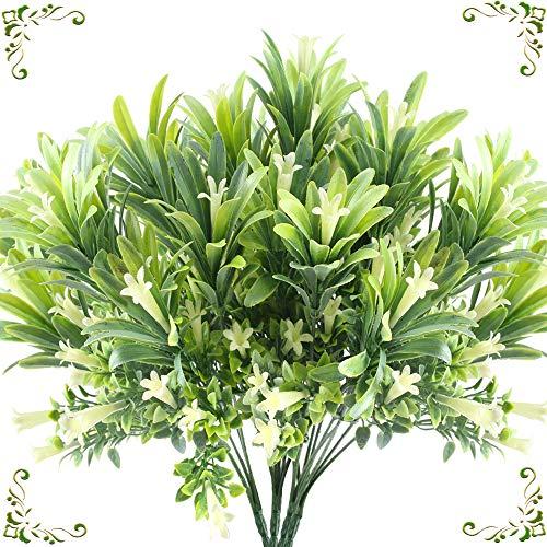MHMJON Artificial Flower Plants, 4PCS Plastic Fake Shrubs Faux Morning Glory Shrubs Bundles Home Kitchen Office DIY Hotel Table Centerpieces Floor Garden Wedding Decor (Winter Centrepieces)