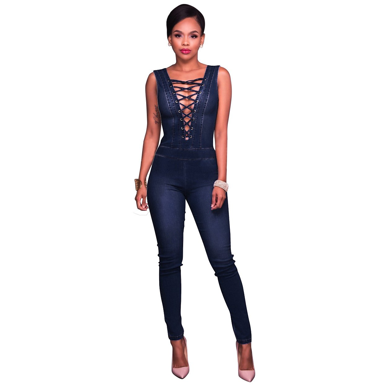 Felicity Young Women Sexy Deep V Neck Sleeveless Lace Up Bodycon Denim Jumpsuit Romper Dark Blue, XX-Large