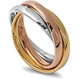 Double Accent 3MM Stainless Steel Tri Color Interlocked Rolling Band Ring (Size 3 to 13)