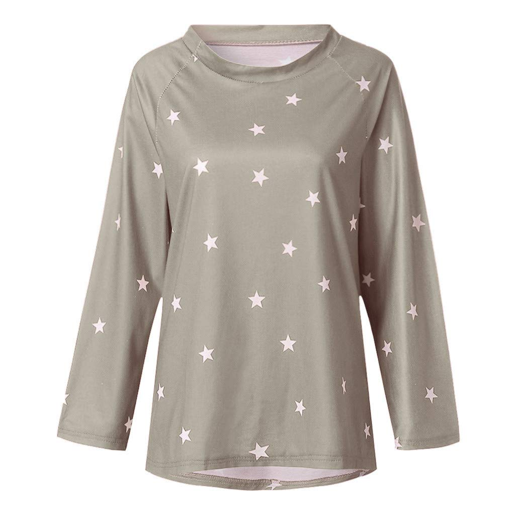 PASATO Women Long Sleeve Tee One shoulder Cotton Star Pattern Sweat T-Shirt Casual Blouses Tops (Gray,XXXXXL=US:XXXXL) by PASATO Blouse For Women (Image #3)