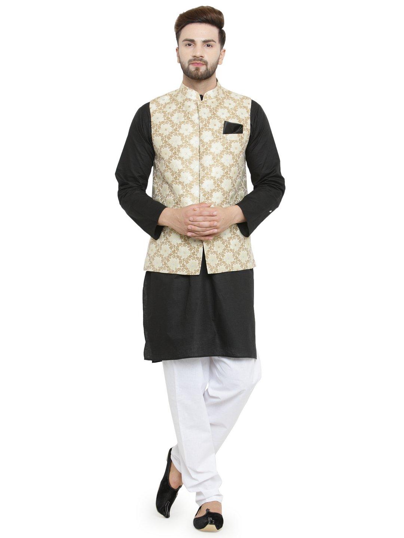 Festive Wear Black Cotton Kurta Pajama and Ethnic Nehru Jacket Set