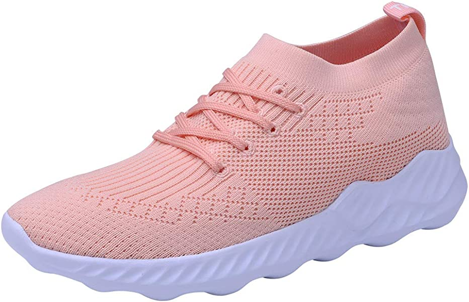 249b124c6be1e Women's Lightweight Casual Fashion Walking Shoes Breathable Flyknit Running  Slip-On Sneakers 5 US Pink