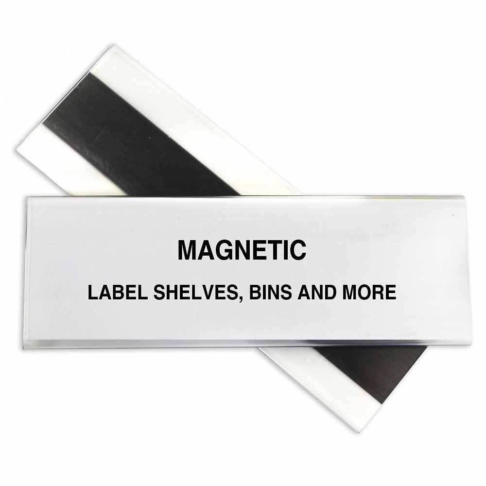 Aigner HOL-DEX Magnetic Shelf/Bin Label Holders, 1 x 4 Inches, 25 per Pack, WR1254