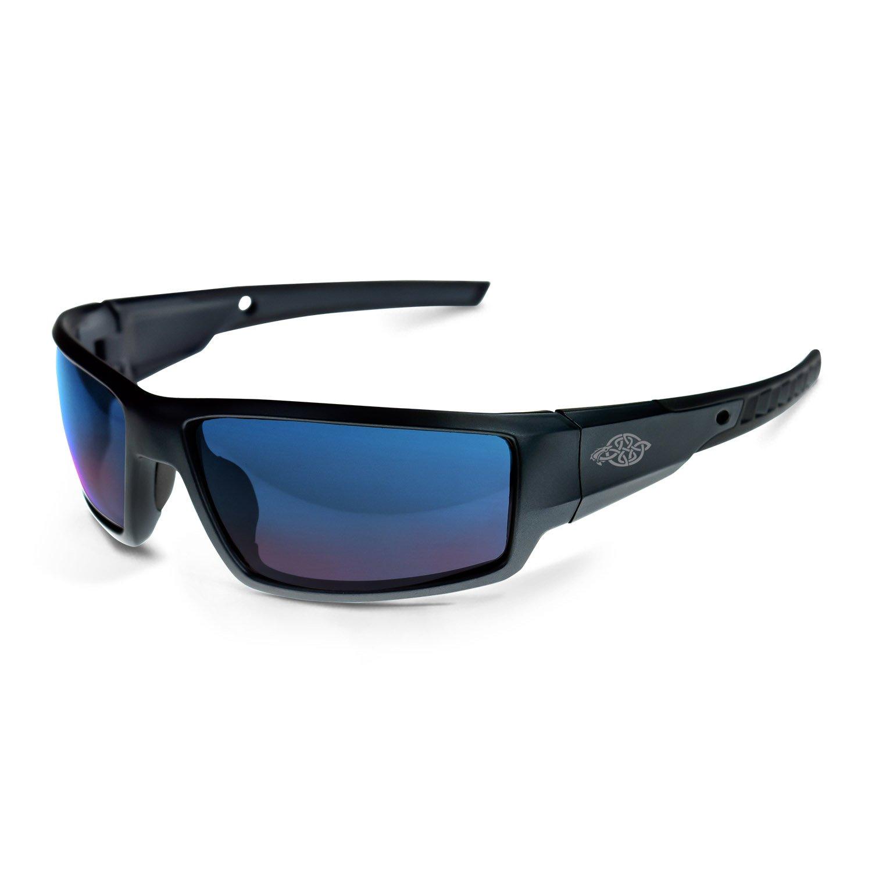 8c2ea604a8 Cumulus Blue Mirror Lens and Matte Black Frame Safety Glasses - - Amazon.com