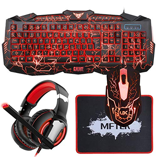 MFTEK Backlit Wired Gaming Keyboard and Mouse Combo with LED Gaming Headset Set, 50mm Speaker Driver Headphone + Mouse Pad for PC Gamer Computer Office