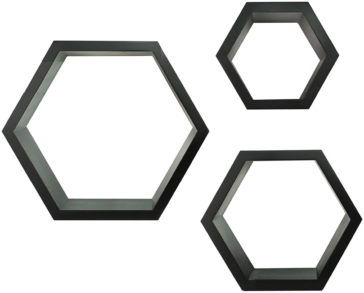 GALLERY SOLUTIONS Black HexaGallery Geometric Decorative Wall Mounted Floating Shelves, Set of 3 NBG Home 10FW1585
