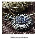 Antique Bronze Blue Dragon Pocket Watch Necklace