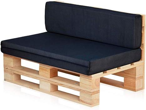 Conjunto Sofa De Palets Set Cojines Asiento Respaldo 120x60 Azul Marino Transpirable Amazon Es Jardín