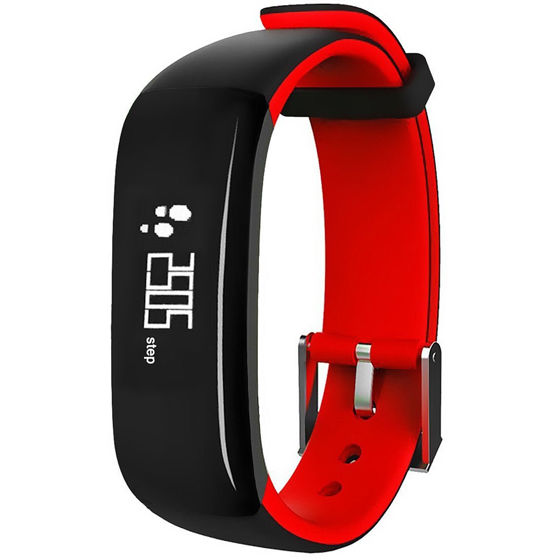 MBHB Waterproof Sport Smart Bracelet, Health Tracker with Heart Rate / Blood Pressure / Sleep Monitor, OLED Pedometer Bluetooth 4.0 Fitness Tracker for iOS Android Smartphones, Red