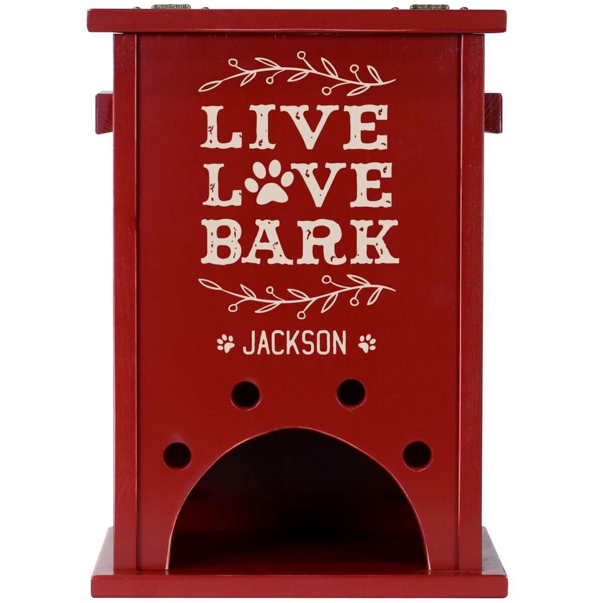Personalized Custom Engraved Pine Pet Toy Box Storage Organizer, Birthday gift for Dogs, Daughter, Sons, Boys and Girls, Grandchildren, Made in USA By Rooms Organized (Red)