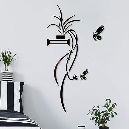 3D Diy Black Flower Shape Acrylic Wall Sticker Modern Stickers Decoration