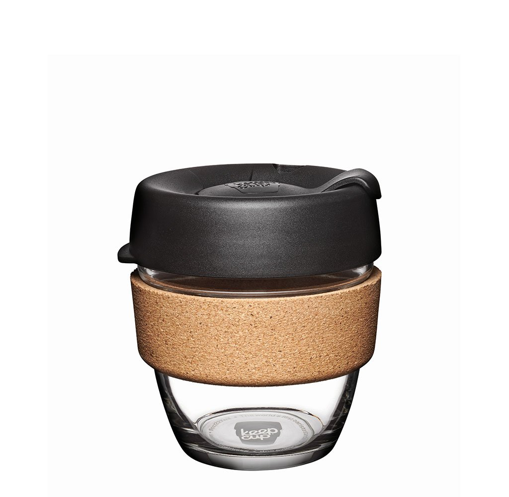 KeepCup 8oz Reusable Coffee Cup. Toughened Glass Cup & Natural Cork Band. 8-Ounce/Small, Espresso