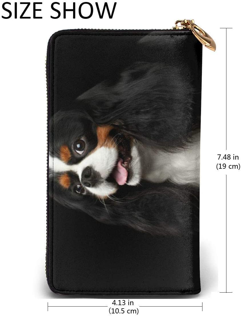 BGHYT Portefeuille Cavalier King Charles Spaniel Dog Large Capacity Zip Around Slim Billfold Real Leather Wallet Card Holders for Men Women Boy Girl