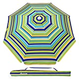 MOVTOTOP 6.5ft Beach Umbrella, UV 50+ Protection Beach Umbrella with Sand Anchor and Tiltable Aluminum Pole, Windproof Beach Umbrella with Portable Carry Bag for Outdoor Travel(Green/Yellow)