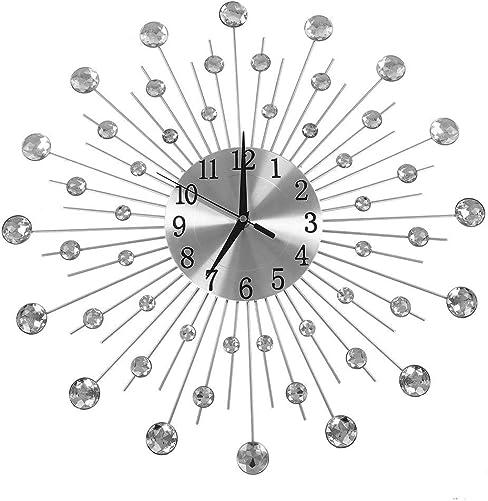 Creative Design Iron Flower-Shaped Wall-Mounted Clock Rhinestone Hanging Wall Clock Home Decoration Sliver