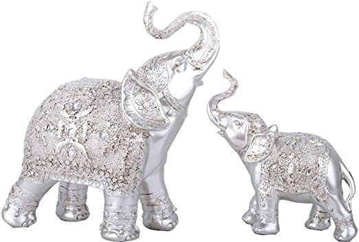 Amazon Com Roopooy Set Of 2 Elephant Statue Wealth Lucky Figurine Home Decor Gift Silver Home Kitchen