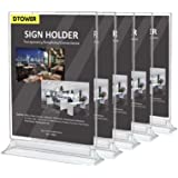 """Restaurant Menu Holder Sign Holder Double Sided Clear Plastic Card Display Table Tent Ad Photo Picture Portrait Frame Stand Horizontal 5pack(MAX Size for Paper: 8.26"""" W x 11.69"""" H)"""