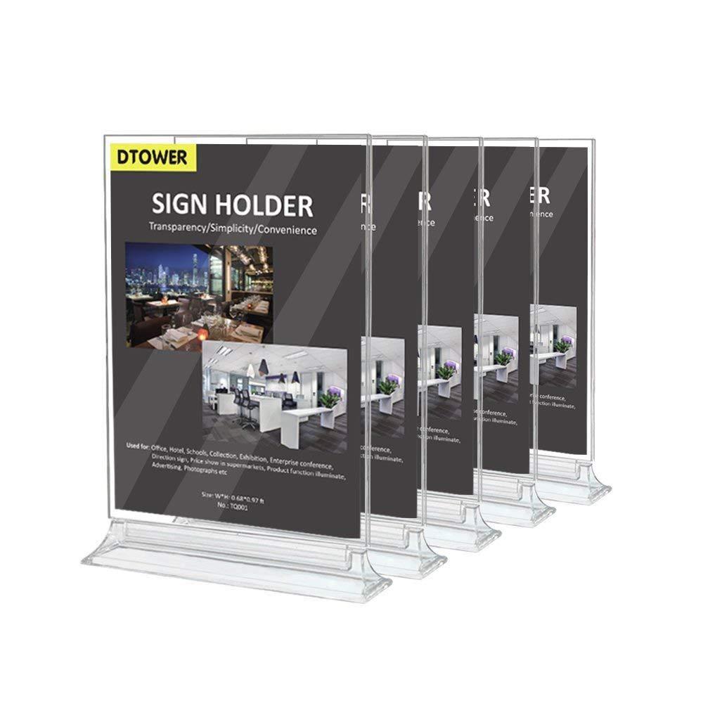 レストランメニューホルダーサインホルダー両面クリアプラスチックカード表示テーブルテントAdフォト写真Portraitフレームスタンド水平8.5