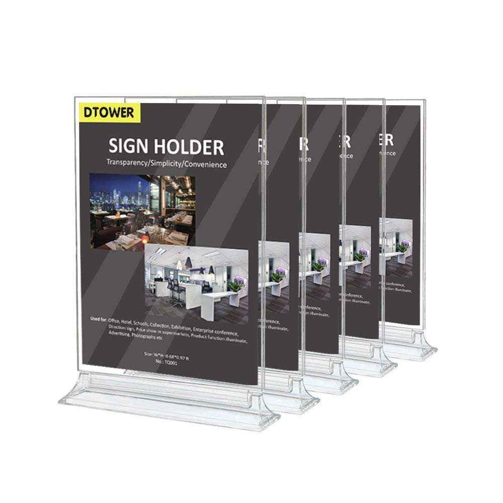 Restaurant Menu Holder Sign Holder Double-Sided Clear Plastic Card Display Table Tent Ad Photo Picture Portrait Frame Stand Horizontal 8.26''W x 11.4''H- 5pack.