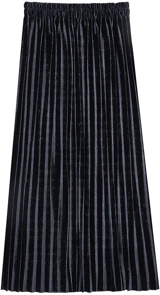 2020 - Falda larga para mujer (cintura alta, plisada, terciopelo, media longitud), color dorado