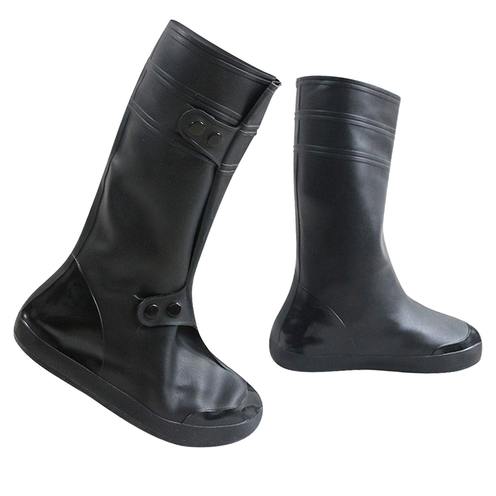 ARUNNERS Black Snow Rain Boots Shoes Covers Galoshes Overshoes for Men - L, High