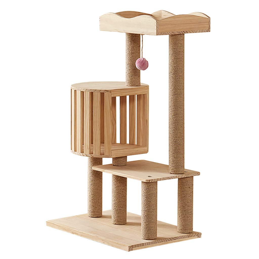 Cat Tree with Scratch Post, Solid Wood Cat Hole
