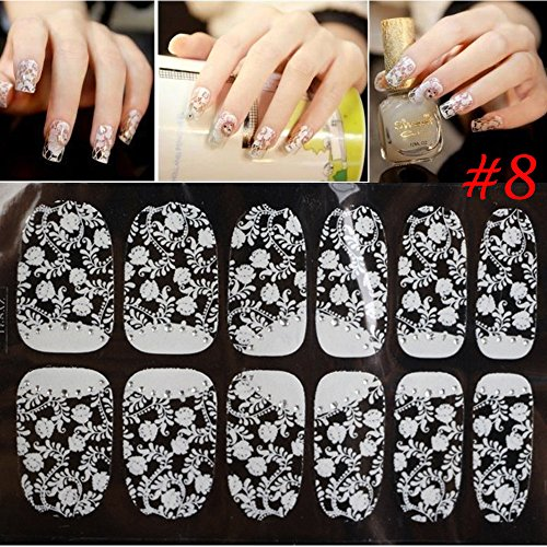 Funwill 3D Lace Nail Art Tips Sticker Decal Full Wrap Glitter DIY Decoration Beauty