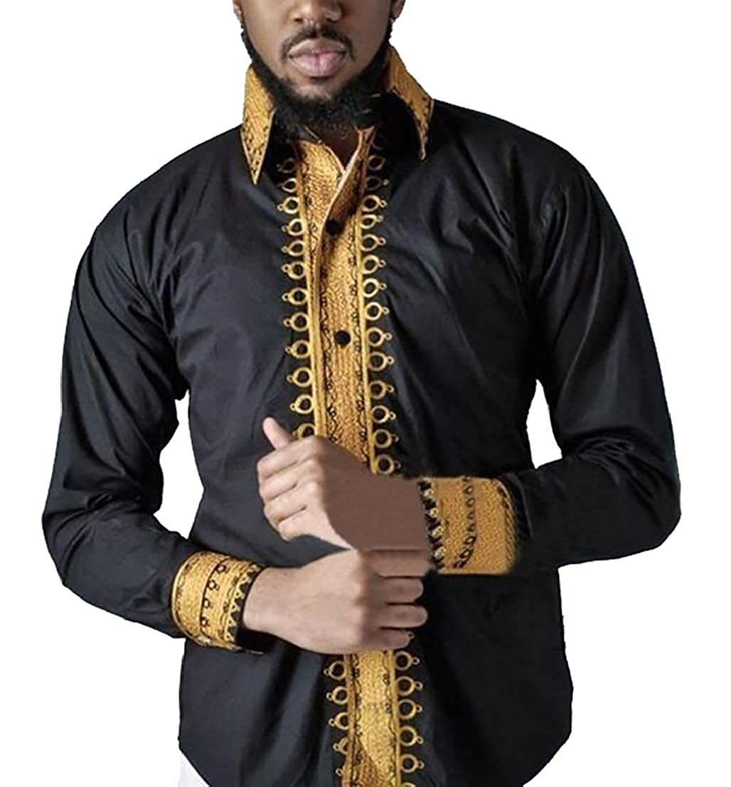 UUYUK Men Casual African Printed Long Sleeve Slim Fit Button Down Shirt